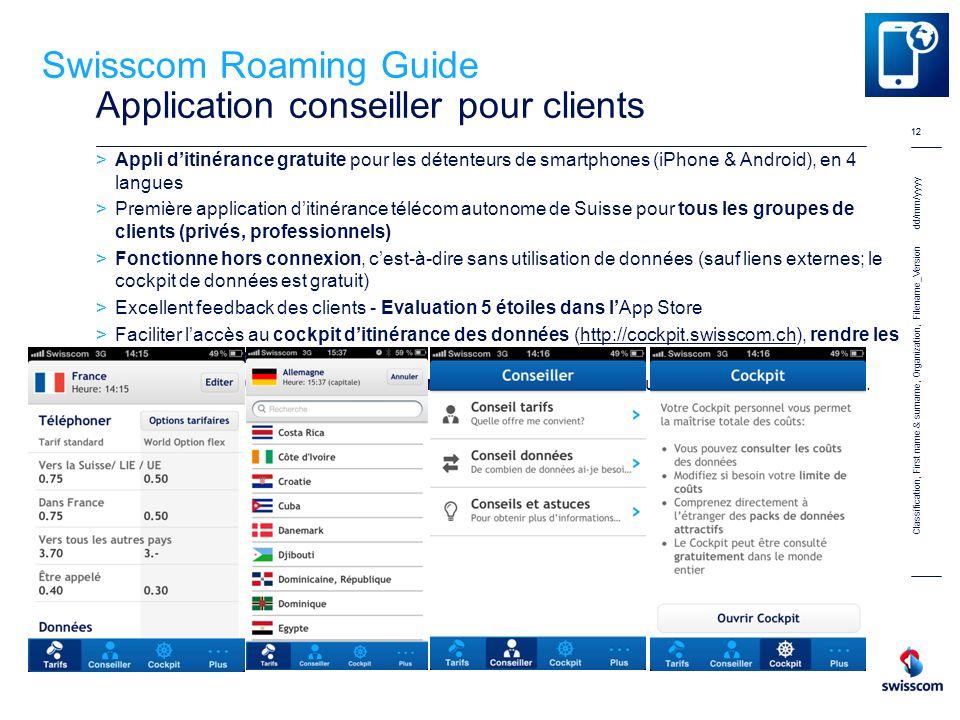 Swisscom Roaming Guide Application conseiller pour clients