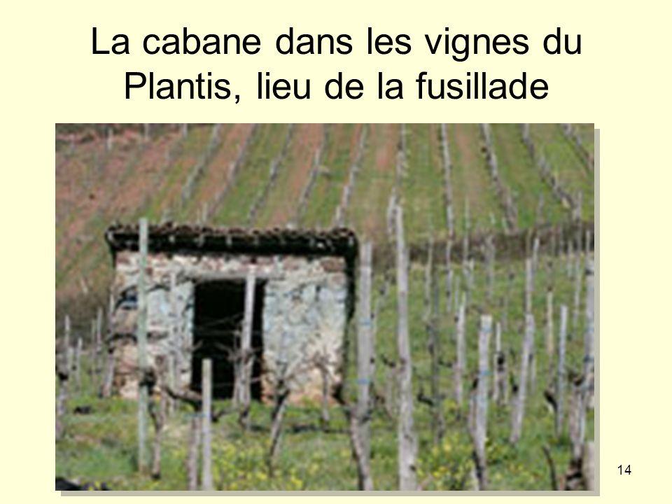 La cabane dans les vignes du Plantis, lieu de la fusillade
