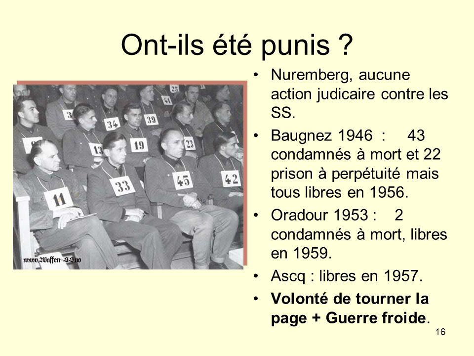 Ont-ils été punis Nuremberg, aucune action judicaire contre les SS.