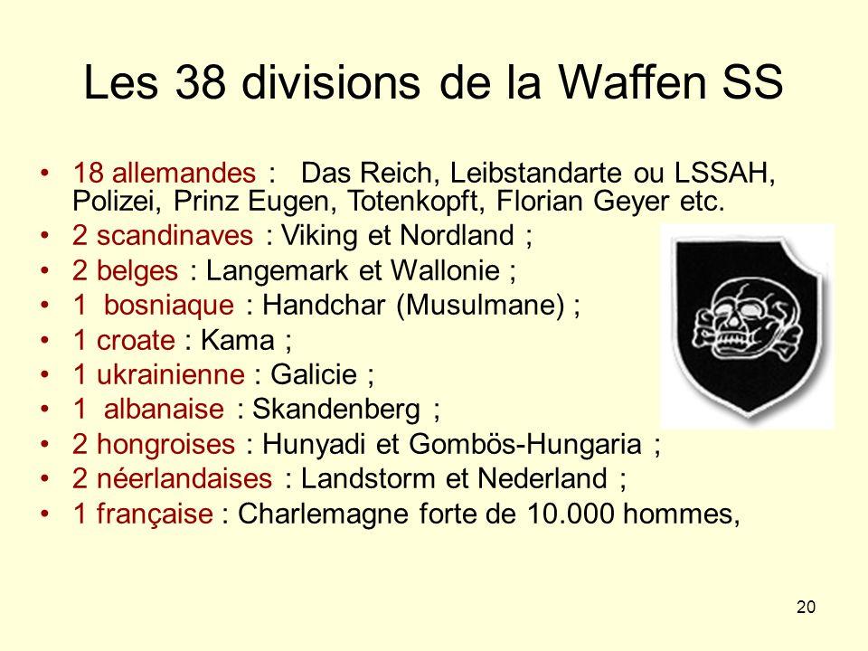 Les 38 divisions de la Waffen SS