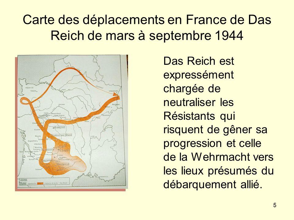 Carte des déplacements en France de Das Reich de mars à septembre 1944