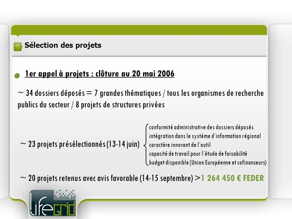 1er appel à projets : clôture au 20 mai 2006