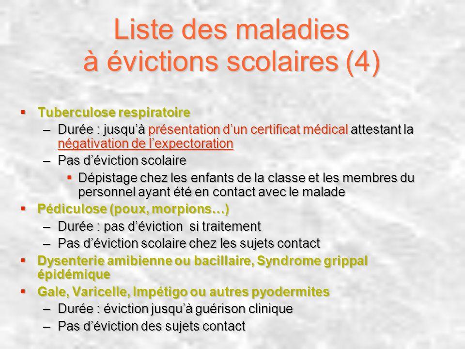 Liste des maladies à évictions scolaires (4)