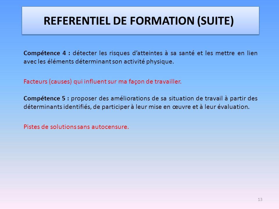 REFERENTIEL DE FORMATION (SUITE)