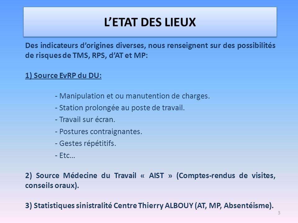 L'ETAT DES LIEUX Des indicateurs d'origines diverses, nous renseignent sur des possibilités de risques de TMS, RPS, d'AT et MP: