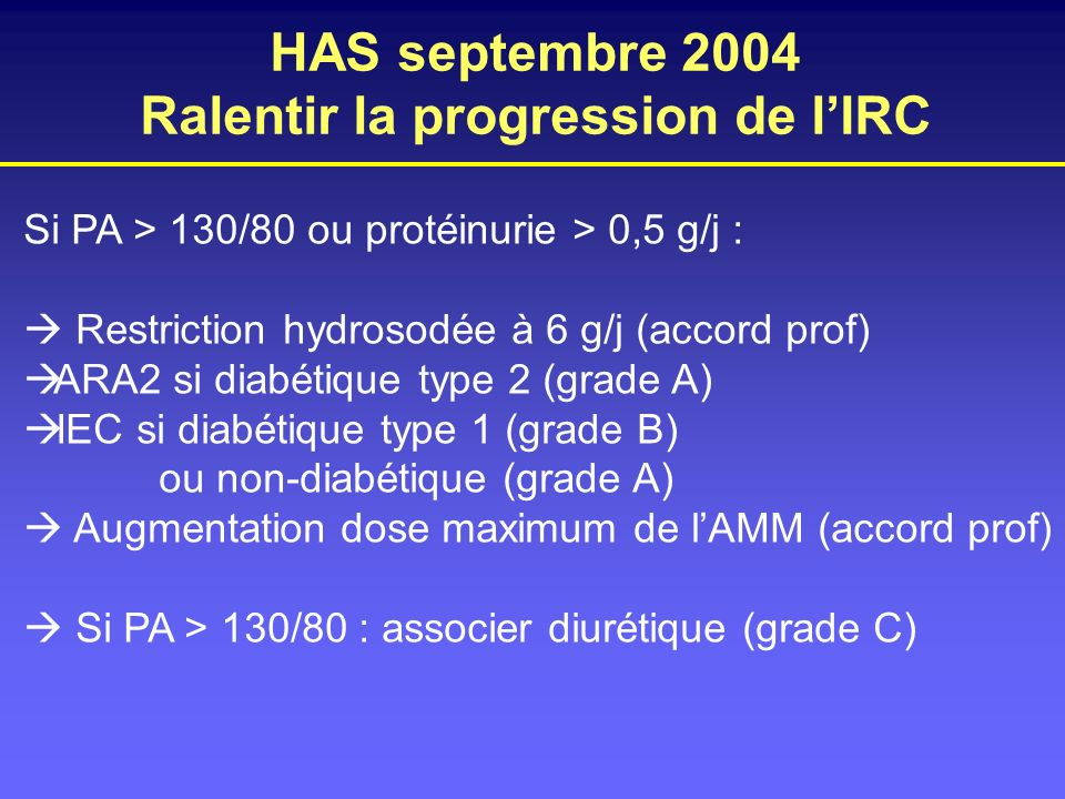 HAS septembre 2004 Ralentir la progression de l'IRC