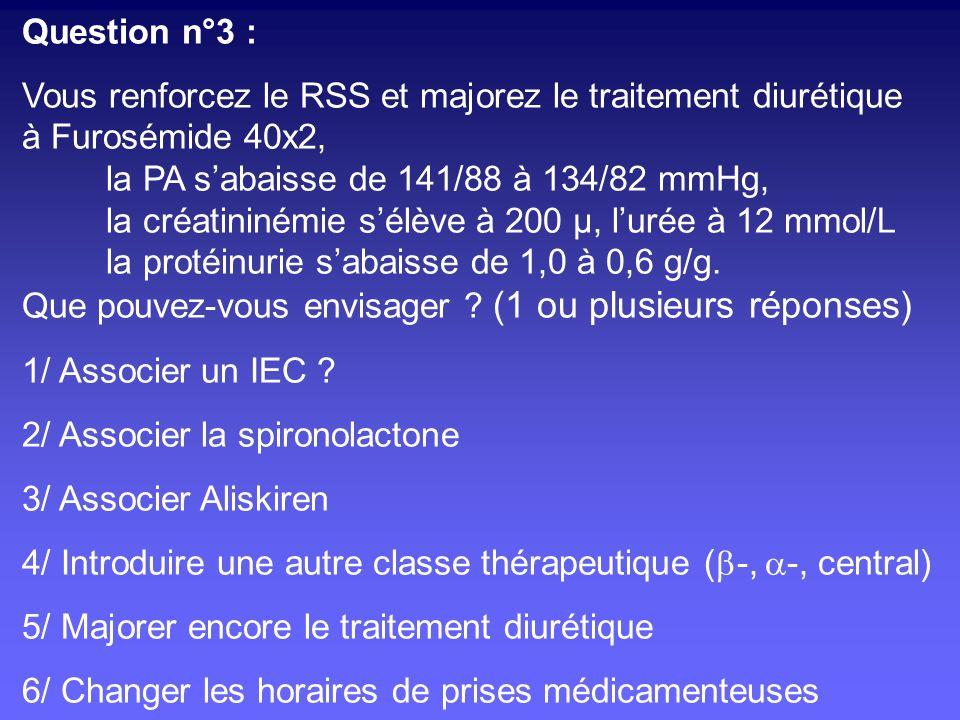Question n°3 :Vous renforcez le RSS et majorez le traitement diurétique. à Furosémide 40x2, la PA s'abaisse de 141/88 à 134/82 mmHg,