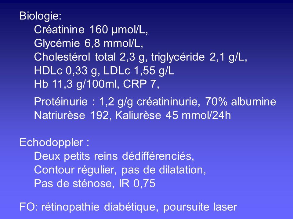Biologie: Créatinine 160 µmol/L, Glycémie 6,8 mmol/L, Cholestérol total 2,3 g, triglycéride 2,1 g/L,