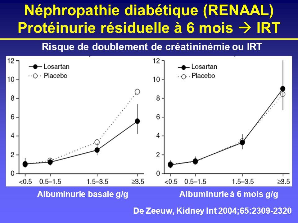 Néphropathie diabétique (RENAAL) Protéinurie résiduelle à 6 mois  IRT