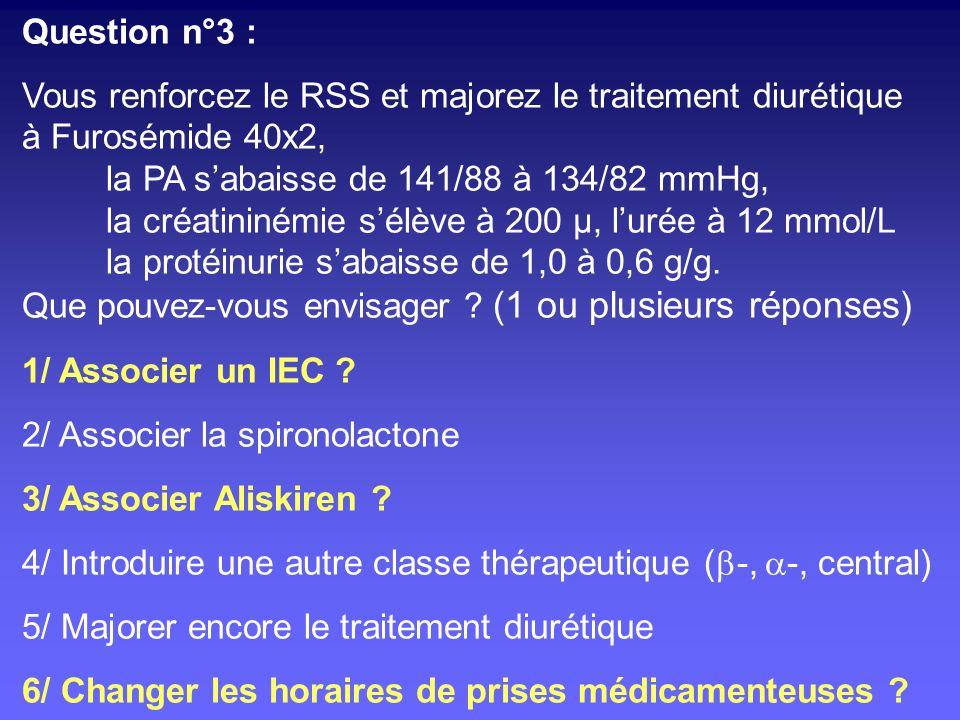 Question n°3 : Vous renforcez le RSS et majorez le traitement diurétique. à Furosémide 40x2, la PA s'abaisse de 141/88 à 134/82 mmHg,