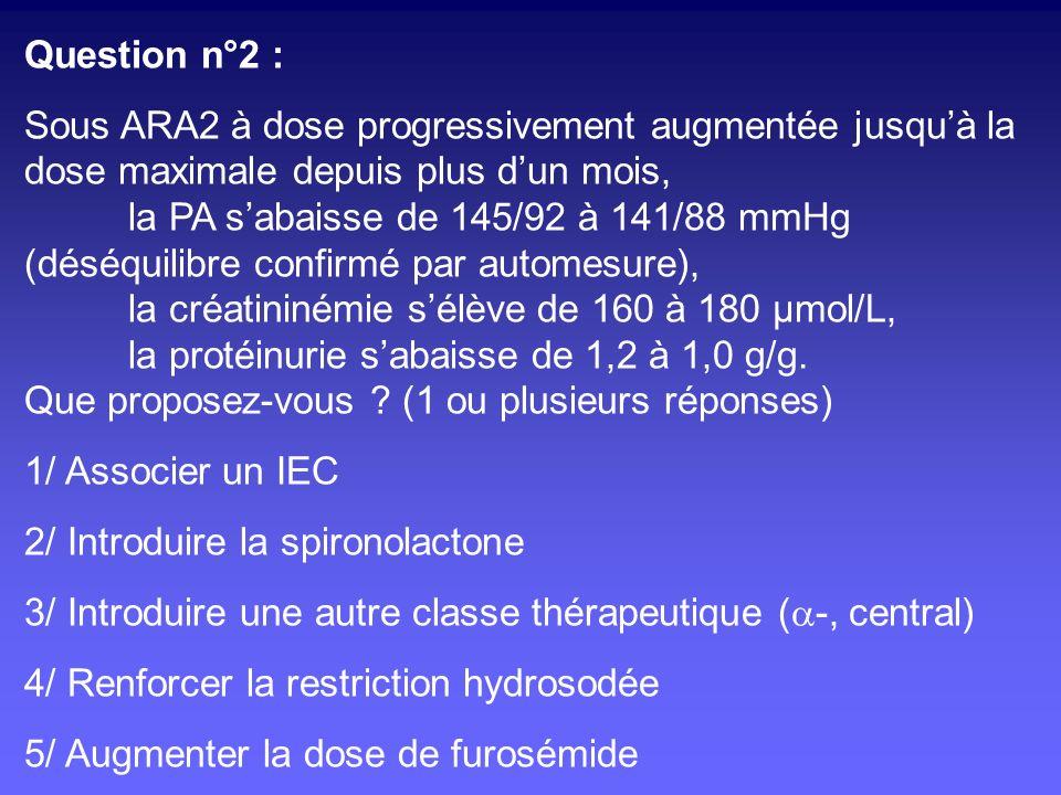 Question n°2 : Sous ARA2 à dose progressivement augmentée jusqu'à la. dose maximale depuis plus d'un mois,