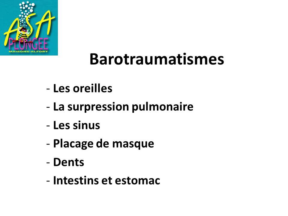 Barotraumatismes - Les oreilles La surpression pulmonaire Les sinus