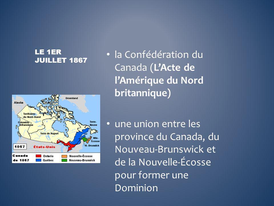 la Confédération du Canada (L'Acte de l'Amérique du Nord britannique)