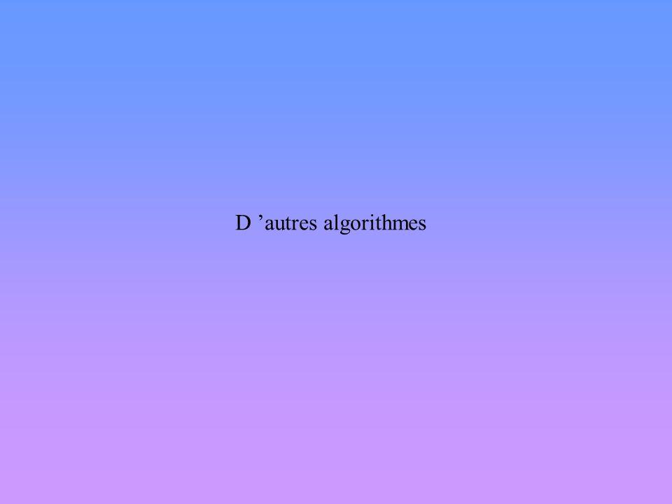 D 'autres algorithmes
