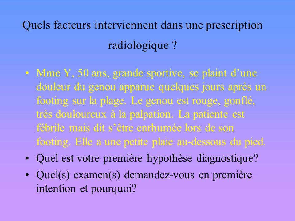 Quels facteurs interviennent dans une prescription radiologique