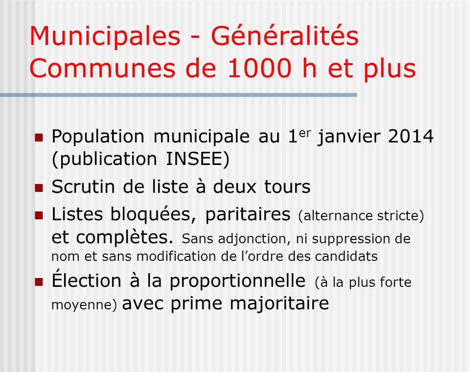 Municipales - Généralités Communes de 1000 h et plus