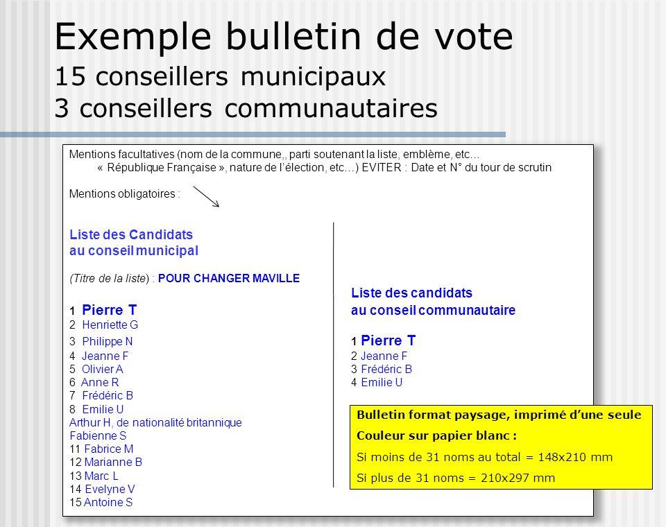 Exemple bulletin de vote 15 conseillers municipaux 3 conseillers communautaires