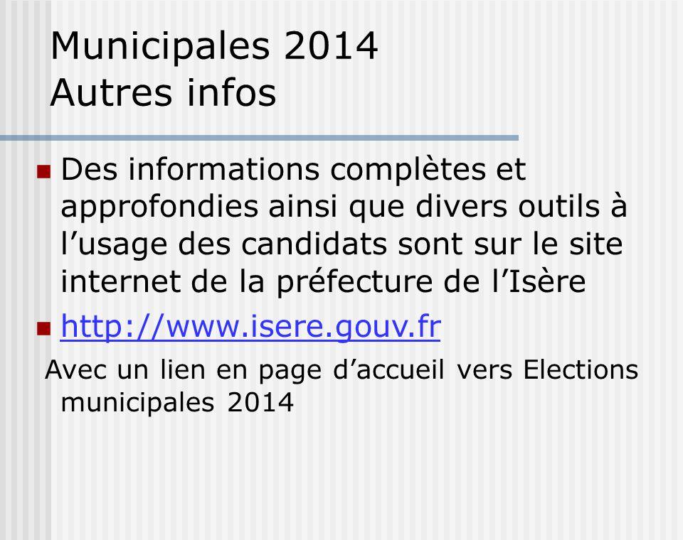 Municipales 2014 Autres infos