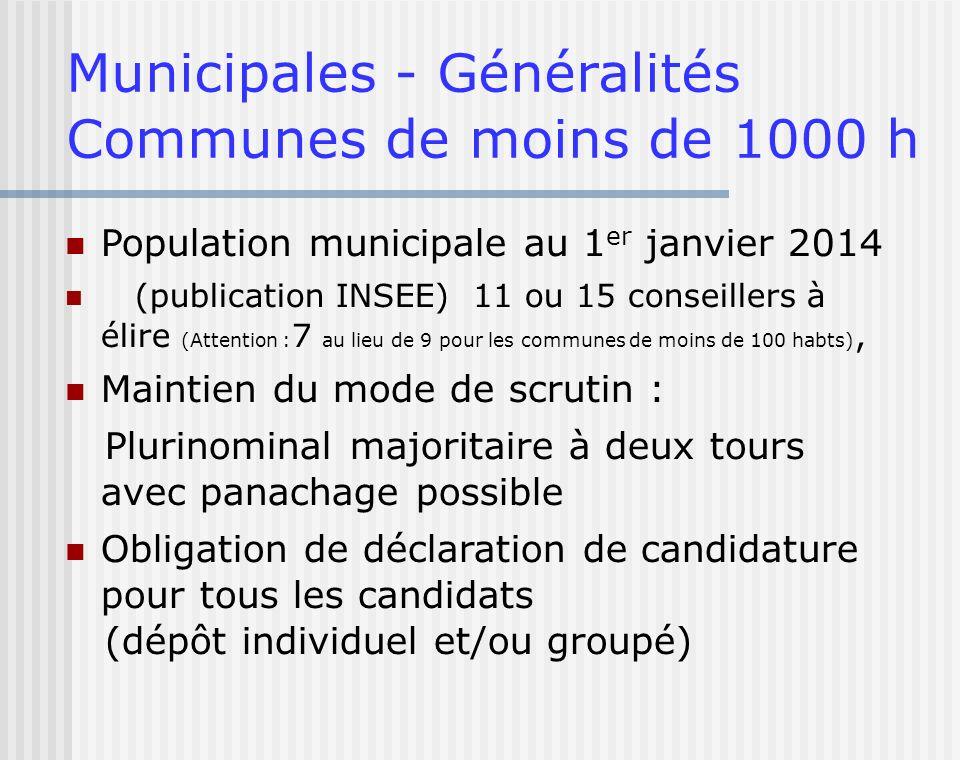 Municipales - Généralités Communes de moins de 1000 h