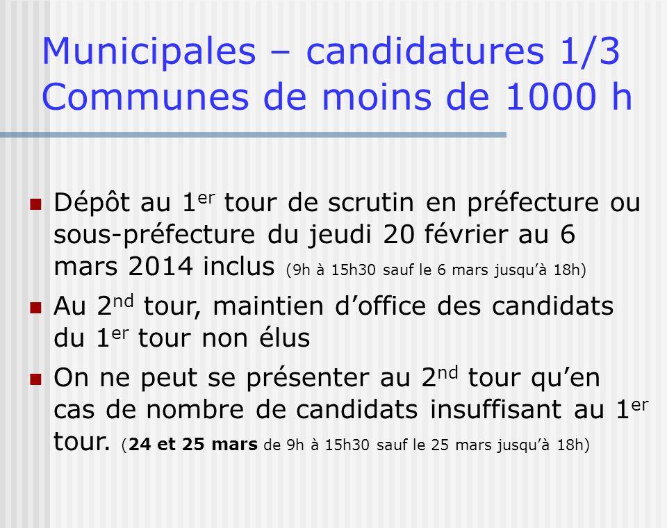 Municipales – candidatures 1/3 Communes de moins de 1000 h