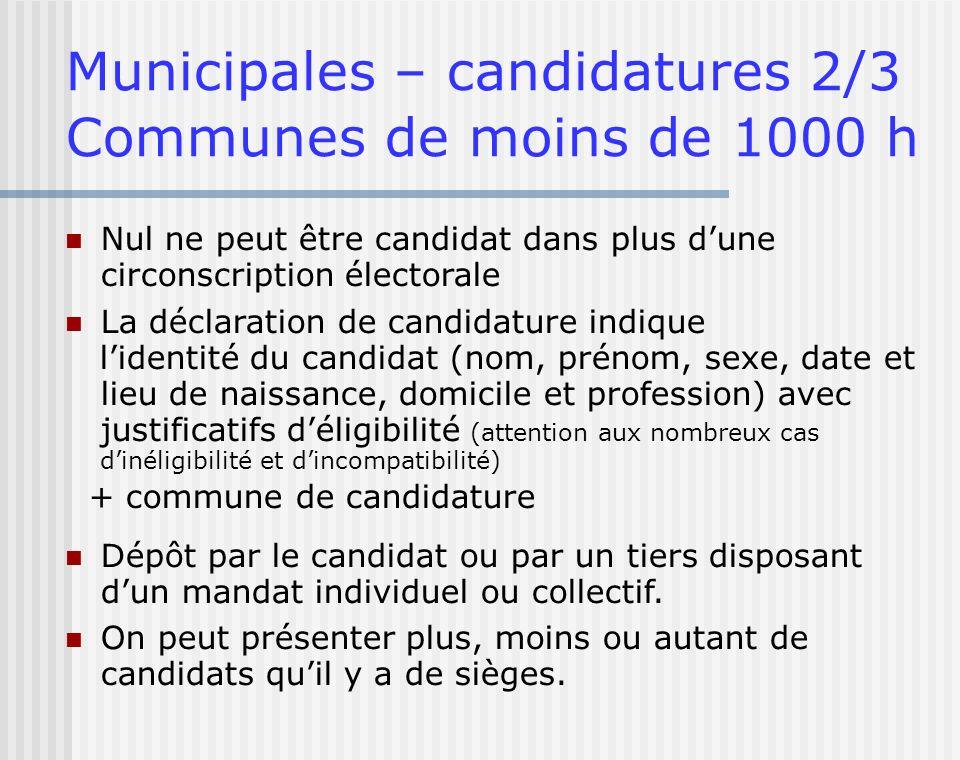 Municipales – candidatures 2/3 Communes de moins de 1000 h