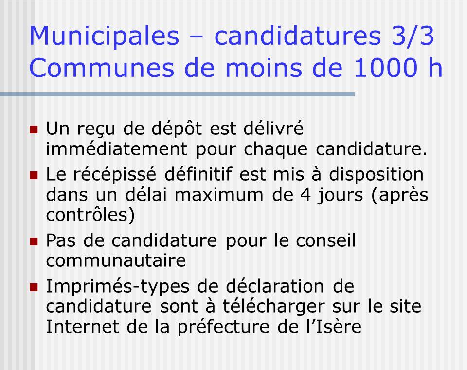 Municipales – candidatures 3/3 Communes de moins de 1000 h