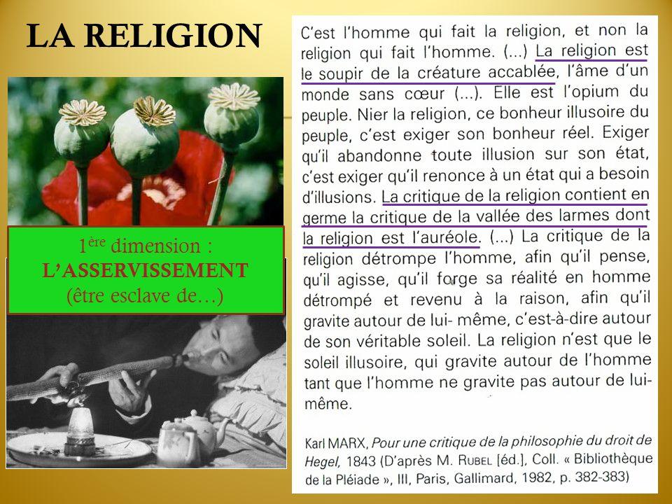 LA RELIGION 1ère dimension : L'ASSERVISSEMENT (être esclave de…)