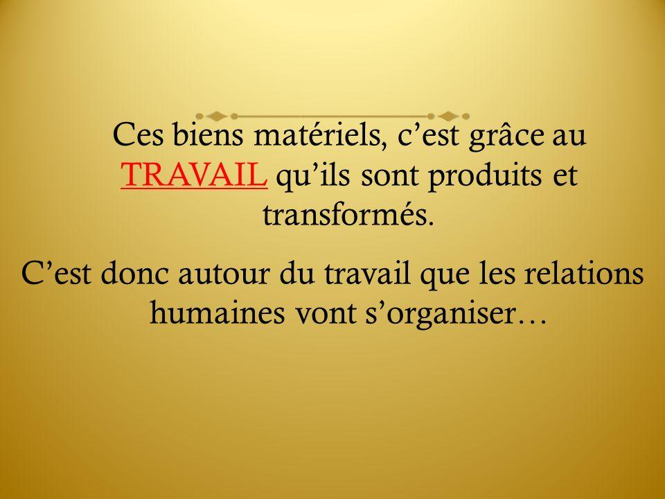 Ces biens matériels, c'est grâce au TRAVAIL qu'ils sont produits et transformés.