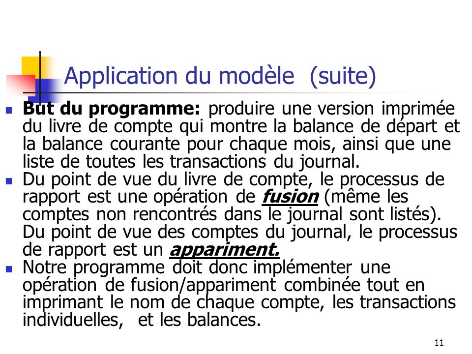 Application du modèle (suite)