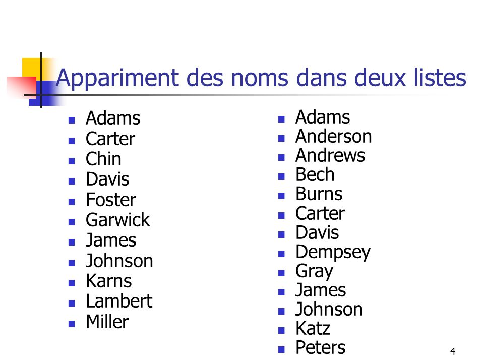Appariment des noms dans deux listes