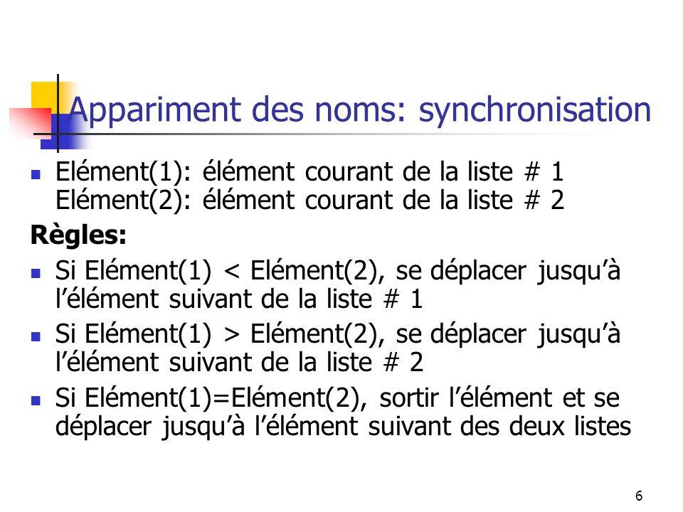 Appariment des noms: synchronisation