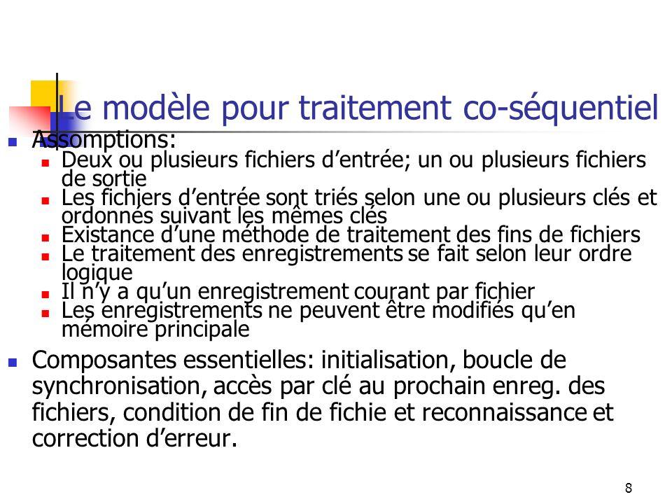 Le modèle pour traitement co-séquentiel