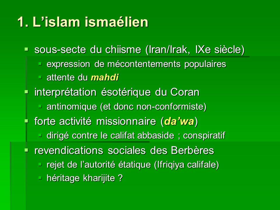1. L'islam ismaélien sous-secte du chiisme (Iran/Irak, IXe siècle)
