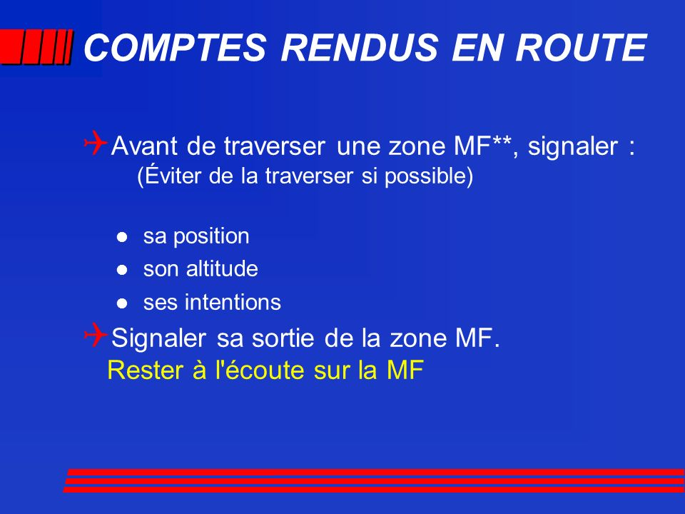 COMPTES RENDUS EN ROUTE