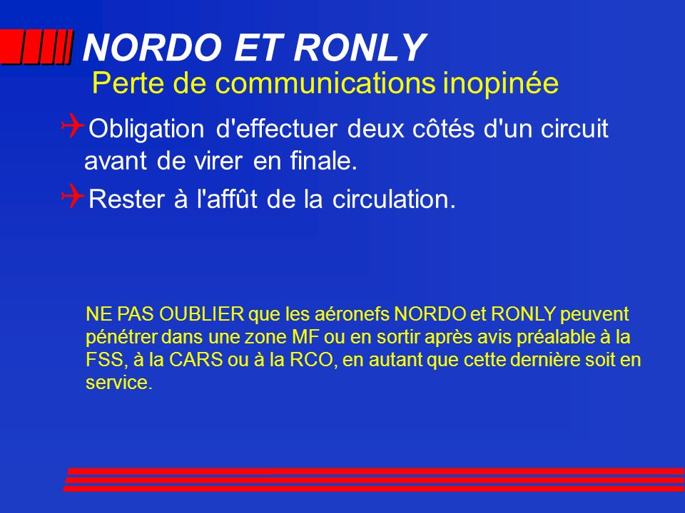 NORDO ET RONLY Perte de communications inopinée