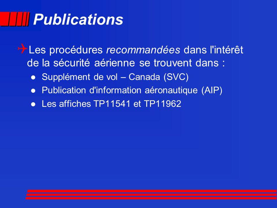 Publications Les procédures recommandées dans l intérêt de la sécurité aérienne se trouvent dans : Supplément de vol – Canada (SVC)