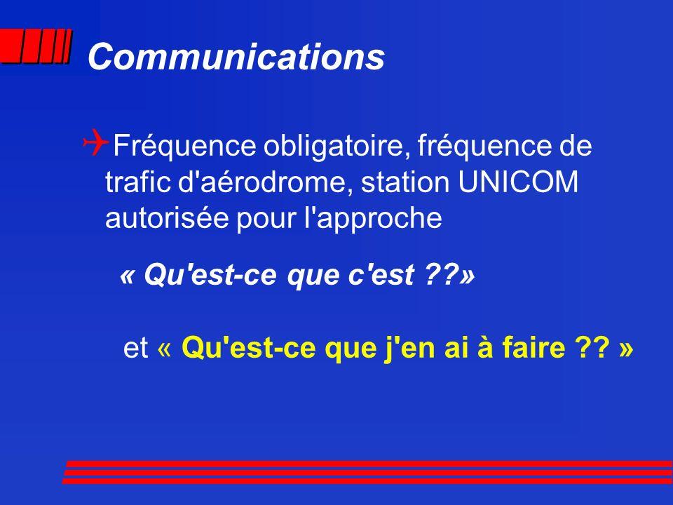 Communications Fréquence obligatoire, fréquence de trafic d aérodrome, station UNICOM autorisée pour l approche.