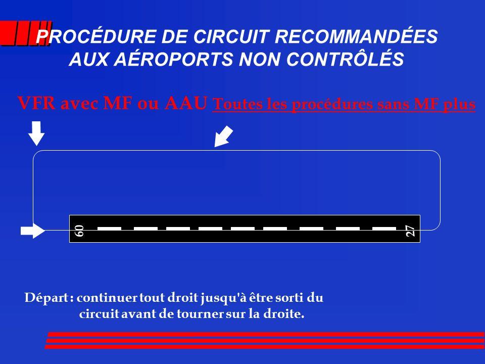 PROCÉDURE DE CIRCUIT RECOMMANDÉES AUX AÉROPORTS NON CONTRÔLÉS