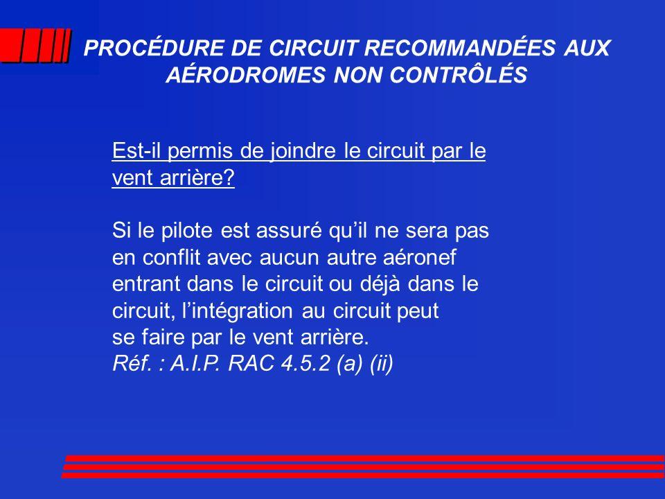 PROCÉDURE DE CIRCUIT RECOMMANDÉES AUX AÉRODROMES NON CONTRÔLÉS