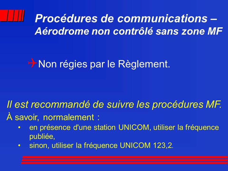 Procédures de communications – Aérodrome non contrôlé sans zone MF