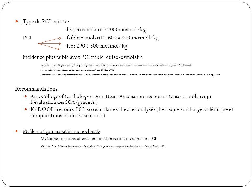 Incidence plus faible avec PCI faible et iso-osmolaire