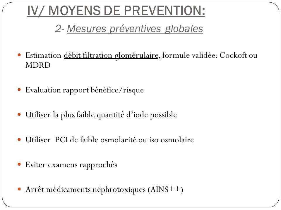 IV/ MOYENS DE PREVENTION: 2- Mesures préventives globales