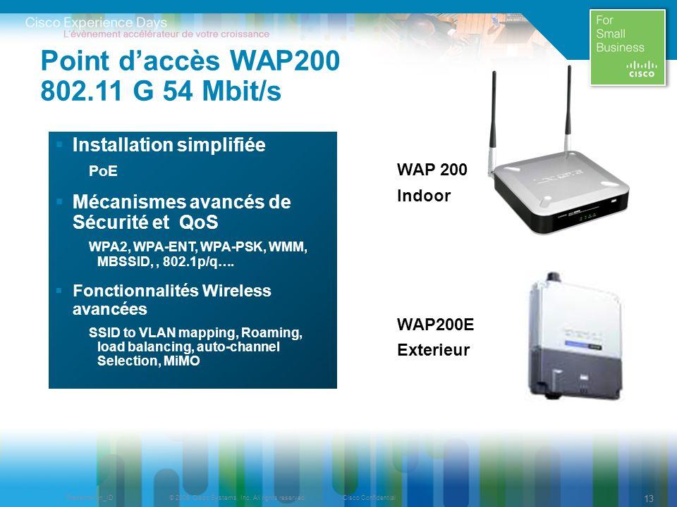 Point d'accès WAP200 802.11 G 54 Mbit/s