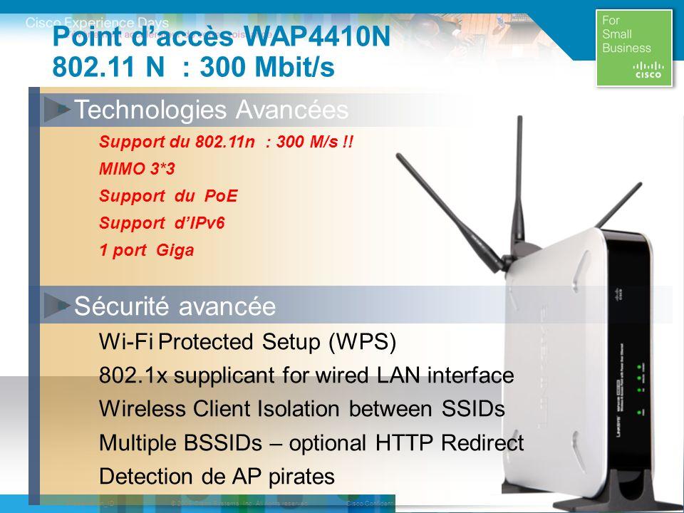 Point d'accès WAP4410N 802.11 N : 300 Mbit/s