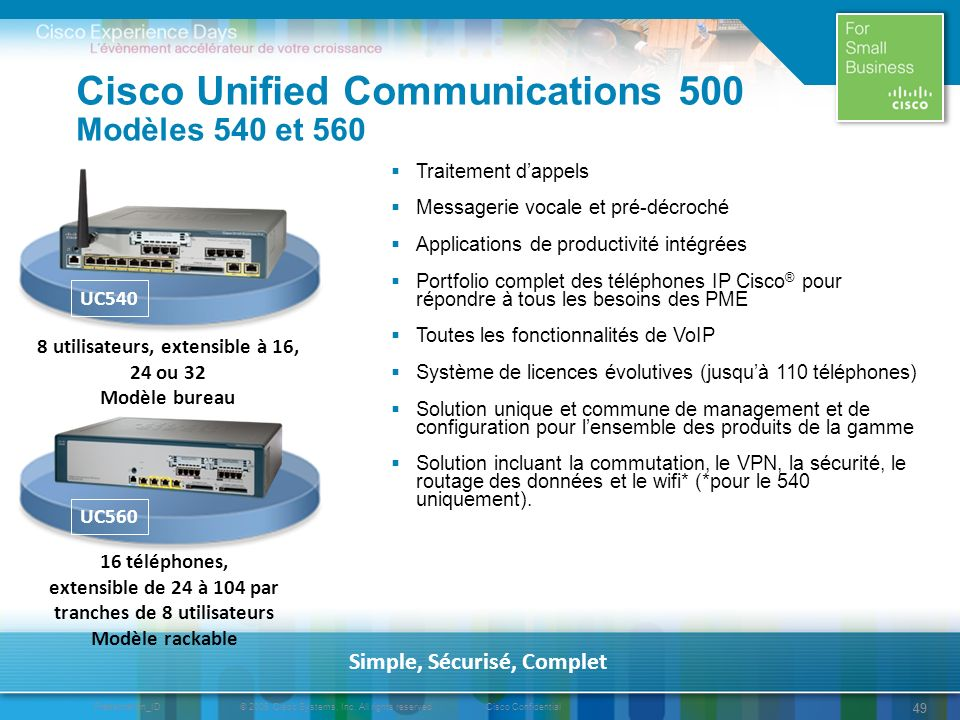 Cisco Unified Communications 500 Modèles 540 et 560