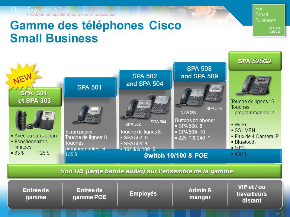 Gamme des téléphones Cisco Small Business