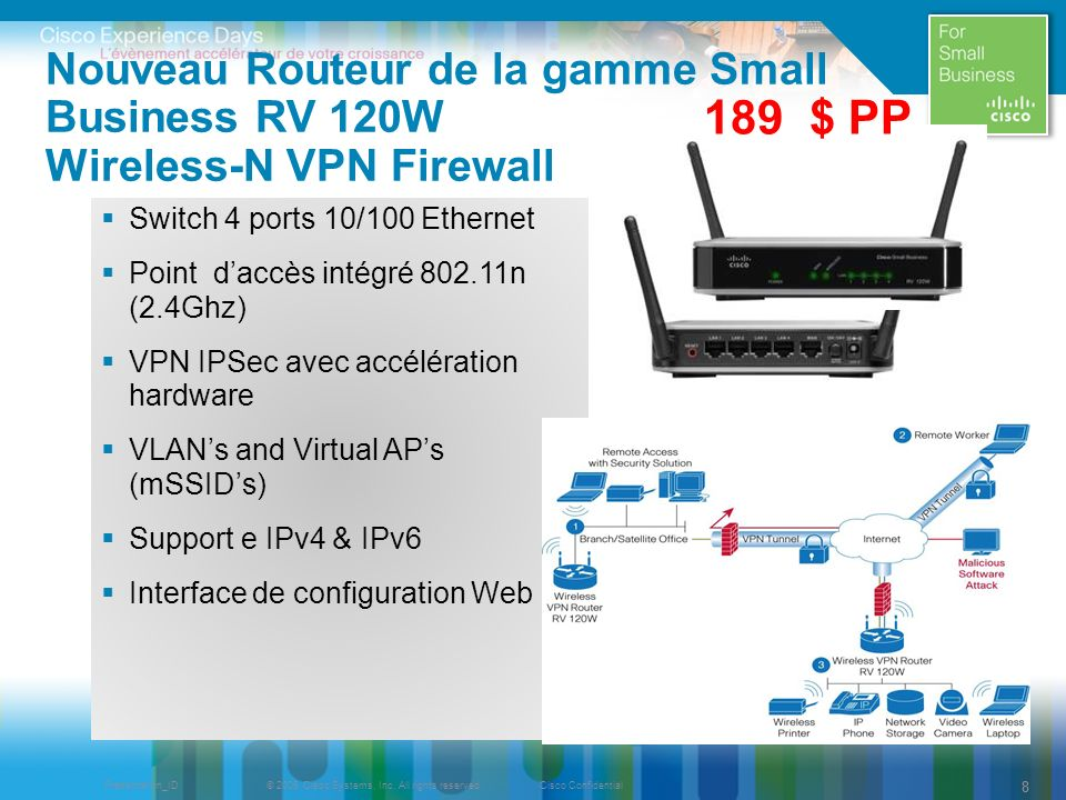 Nouveau Routeur de la gamme Small Business RV 120W Wireless-N VPN Firewall