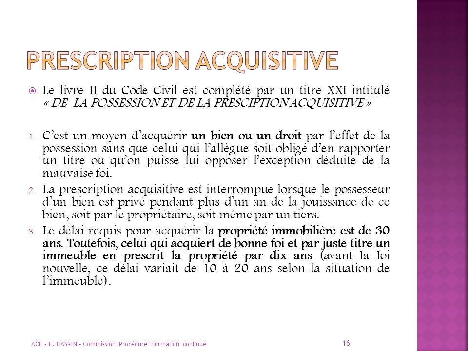PRESCRIPTION ACQUISITIVE