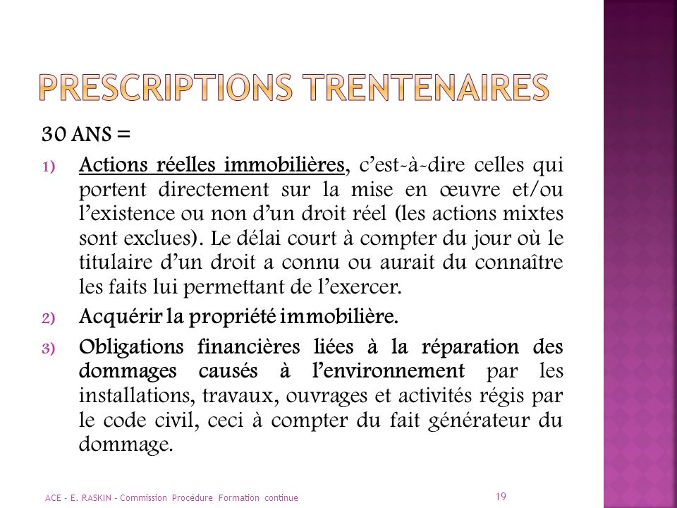 PRESCRIPTIONS TRENTENAIRES