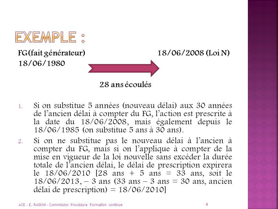 EXEMPLE : FG(fait générateur) 18/06/2008 (Loi N) 18/06/1980